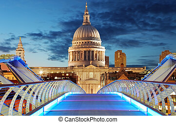 Millennium Bridge leads to Saint Paul's Cathedral in central...
