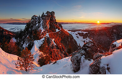 Winter sunset with forest in Slovakia