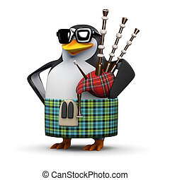 3d Scottish penguin plays the bagpipes - 3d render of a...