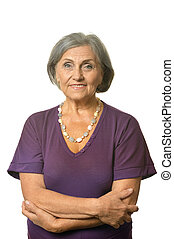 Lovely old woman on a white background