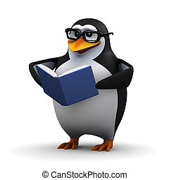 3d Penguin reads a book - 3d render of a penguin reading a...