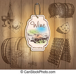 Vintage wine labels Hand drawn illustrations Wooden...