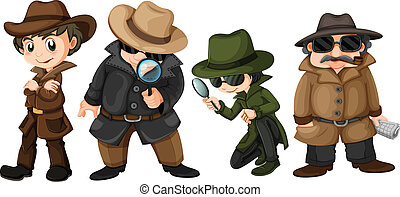 Detectives - Illustration of detectives set
