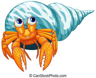 Hermit crab - Illustration of a closeup hermit crab