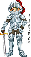 Knight - Illustraion of a male knight with a sword