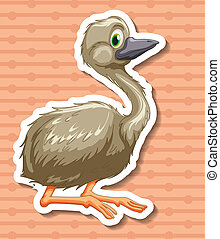 Ostrich - Illustration of a closeup ostrich