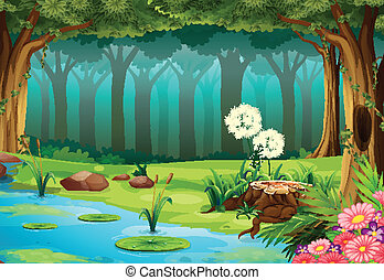 Forest - illustration of a rainforest with no animals