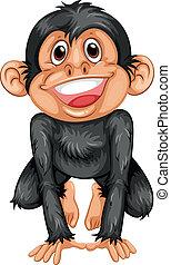 Chimpanzee - Illustration of a black chimpanzee