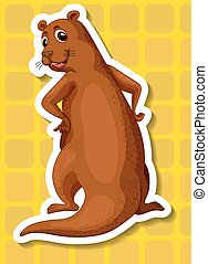 Otter - Illustration of a single otter with yellow...