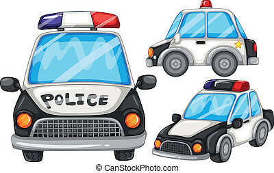 Police cars - illustration of three police cars