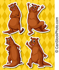 Otters - Illustration of four otters with yellow background