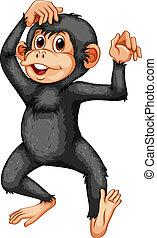 Chimpanzee - illustration of a closeup chimpanzee