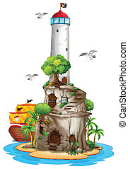 Lighthouse on island - Illustration of a lighthouse on an...