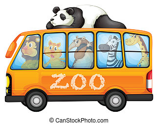 Animals on bus - Illustration of a bus full of animals