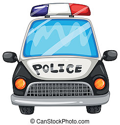 Police car - Illustration of a closeup police car