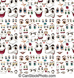 Seamless facial expressions - Illustraion of a seamless...