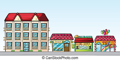 Stores on street - Illustration of a street full of shops