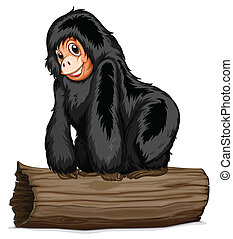 Chimpanzee - Illustration of a chimpanzee on a log