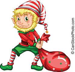 Elf - illustration of an elf dragging a bag