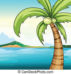 Coconut tree and ocean - Illustration of a coconut tree by...