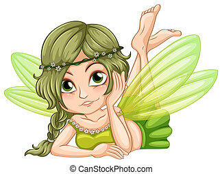 Gree fairy - illustration of a green fairy