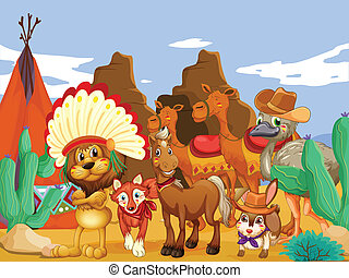 Animals and desert - Illustration of many animals in the...