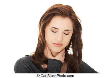 Young woman with terrible throat pain - Charming young woman...