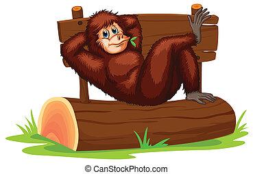 Chimpanzee - Illustration of a chimpanzee relaxing on a log
