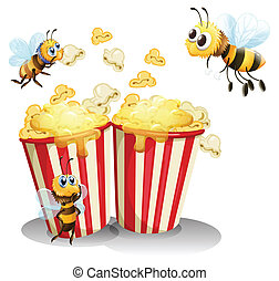 Bees and popcorn - Illustration of  bees and popcorn
