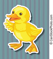 Duckling - Illustration of a closeup duckling with blue...