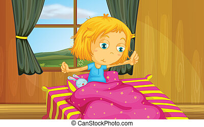 Girl and bedroom - illustration of a girl waking up in a bed