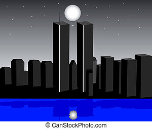 twin towers in the evening on a dark background