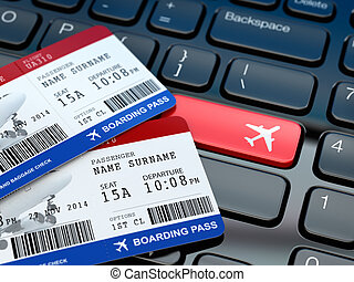Online ticket booking. Boarding pass on laptop keyboard. 3d