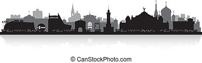 Omsk Russia city skyline vector silhouette - Omsk Russia...