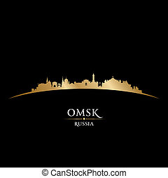 Omsk Russia city skyline silhouette black background