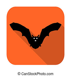 Flat design icon for Halloween. silhouette bat