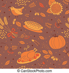 Seamless pattern with pumpkins, leaves, wheat and turkey. -...