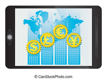 Major currencies symbol on tablet screen