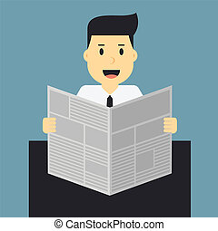 man, businessman reading newspaper