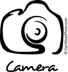 Digital camera icon, symbol or logo in outline style for...