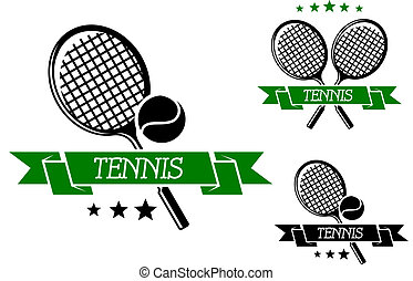 Big tennis sporting emblem with rackets, ball and green...