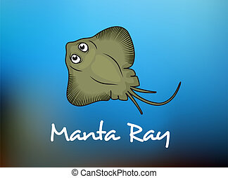 Funny cartoon stingray or manta - Manta Ray swimming...