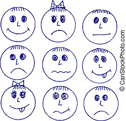 faces, emotions, Doodle - hand made illustration, emotion,...