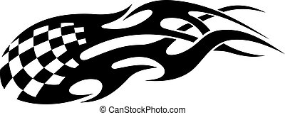 Stylized tribal racing tattoo with black flames for sports...