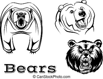 Angry grizzly bears characters - Strong angry grizzly bears...