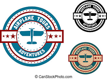 Airplane tours travel icon - Retro aviation tours travel...