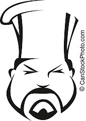 Serious and competent chef or baker with a traditional toque...