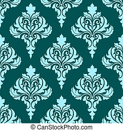 Floral seamless pattern with blue flowers on dark turquoise
