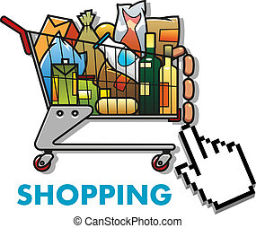 Shopping cart with groceries - Colorful cartoon shopping...
