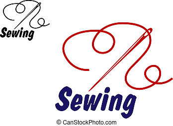 Needlework or sewing symbol with needle and thread for...
